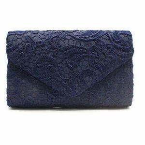 Navy Lace Envelope Clutch, Floral Evening Bag NWT